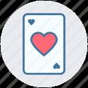 ace, card, hazard, heart, playing card, poker, seo