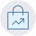 bag, gift bag, graph, marketing, paper bag, shopping bag icon