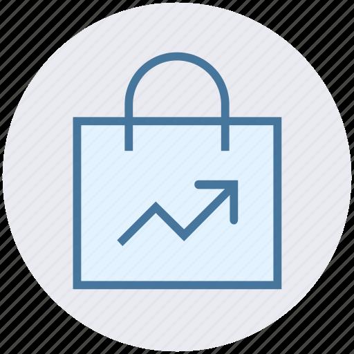 bag, gift bag, graph, marketing, paper bag, shopping bag icon