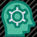brain, customer, gear, head, mind, seo specialist, service icon