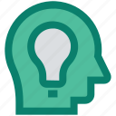 business, head, idea, light bulb, people, seo, thinking icon