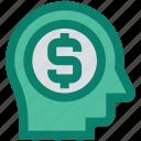 business mind, businessman, dollar, dollar sign, head, marketing, mind icon