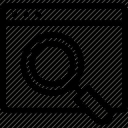 magnifier, page, search, seo, web icon