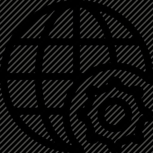 gear, globe, internet, network, seo, settings icon