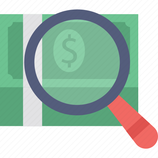 commerce, magnifier dollar, search funding, searching finance, searching money icon