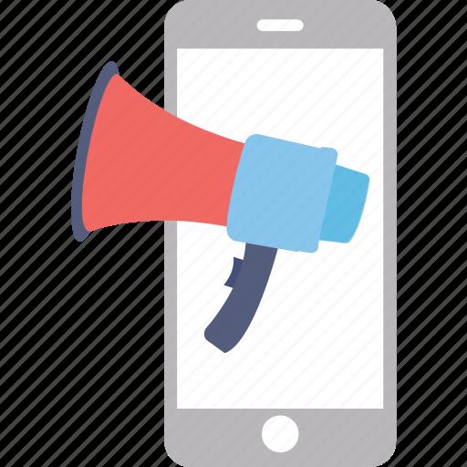 advertisement, mobile advert, mobile media, mobile megaphone, social ads icon