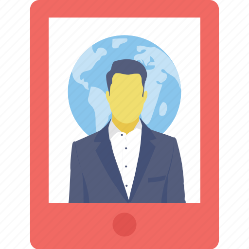 assistant, businessman, smartphone, video call, worldwide icon
