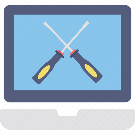 computer repair, exploded view, laptop maintenance icon