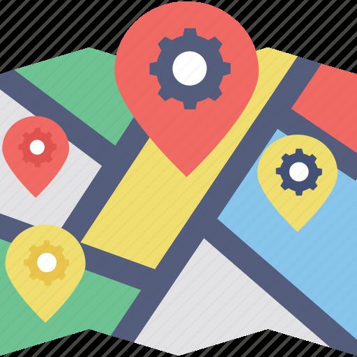 gear pin, gear point, gps setting, map pin gear, map pointer gear icon