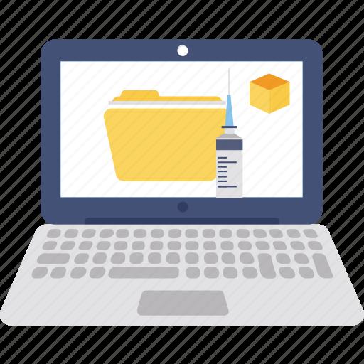 lab folder, medical data, medical informations, syringe with folder icon