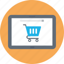 ecommerce, m commerce, mobile commerce, mobile with cart, online shopping icon
