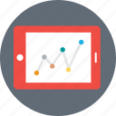 analysis, analyzing, line graph, statistics, tablet graph icon