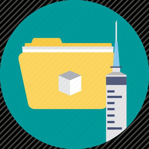 lab folder, medical data, medical folder, medicinal, syringe with folder icon