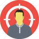 aiming, customer target, marketing strategy, sniper aim, user target icon