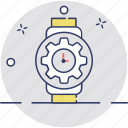 cog watch, cog wrist watch, time for action, time gear, time setting icon
