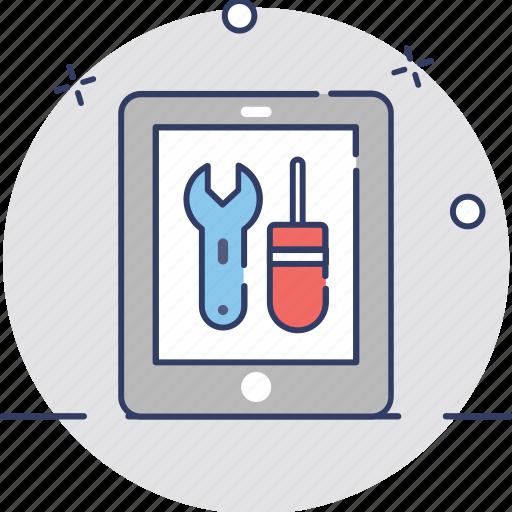 ipad repair, tab repair, tablet fixing, tablet repairs, technical support icon