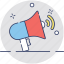 advert, announcement, bullhorn, advertisement, loudhailer