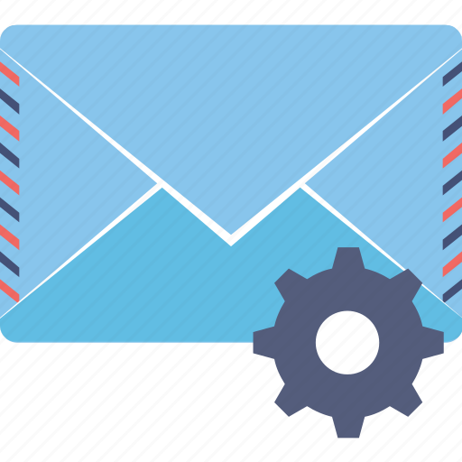 email settings, envelope gear, message settings icon