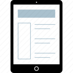 ipad, tablet, wire, wireframe icon