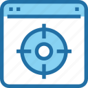 browser, business, mission, seo, target icon
