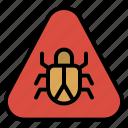 alert, bug, insect, internet, virus, warning icon