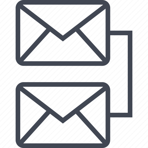 connect, email, mail, mails, two icon
