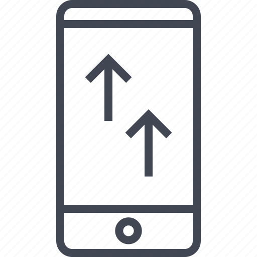 arrows, phone, up, upload icon