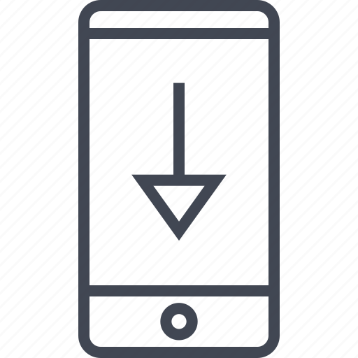 arrow, down, download, mobile icon