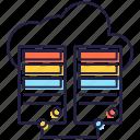 cloud hosting, cloud server, data storage, database server, dataracks, dataserver icon