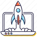 business launch, missile, product launch, rocket, spacecraft, spaceship, start up icon
