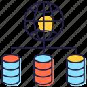 data sharing, database network, global database, global dataserver, worldwide datacenter icon