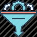 bottleneck, filtering, filtration, funnel, gear, optimization, tool