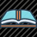 book, encyclopedia, library, magazine, open, publication, textbook