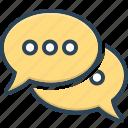 bubbles, chat, communication, gossip, speak, speech, talk