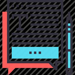 article, blog, bubble, communication, speech, web, write icon