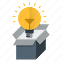 bulb, creative, idea, package, think outside the box icon