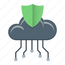 cloud computing, data, network, protection, shield icon