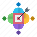 audience, optimization, seo, target, team, traffic icon