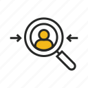 audience, avatar, find, man, person, search, target icon