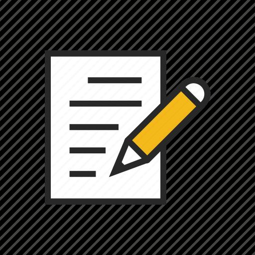 content, document, edit, pen, pencil, write, writing icon
