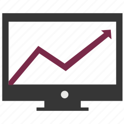 arrow, chart, computer, diagram, display, growth, increasing icon