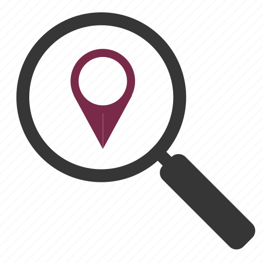 magnifying glass, map marker, marker, pin, search, search engine, zoom icon