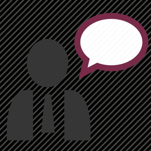 bubble, business, dialog, man, speaking, suit, tie icon