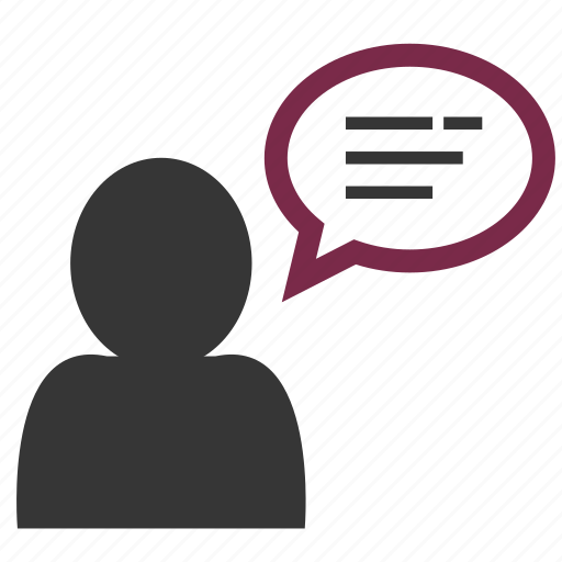 avatar, bubble, dialog, human, man, speaking, text icon