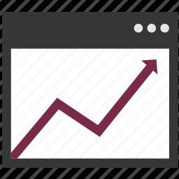 arrow, browser, chart, diagram, increasing, internet, rising icon
