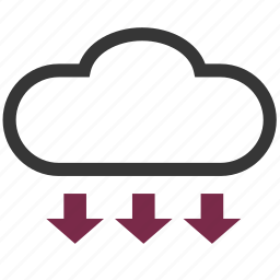 arrows, cloude, download, rain, weather icon