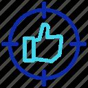 like, network, seo, social media, target, thumb up icon