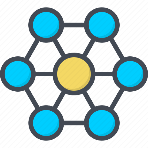 business, filled, network, outline, social icon