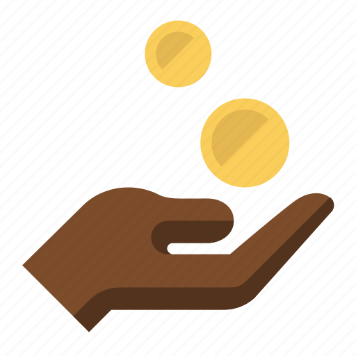 charity, coins, donation, gesture, hand, pay, payment icon