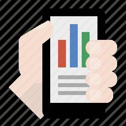 analytics, business, finance, hand, marketing, mobile analytics, seo icon